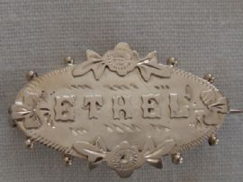 ETHEL  Edwardian Sterling Silver Name Brooch - Chester 1903  (Sold)